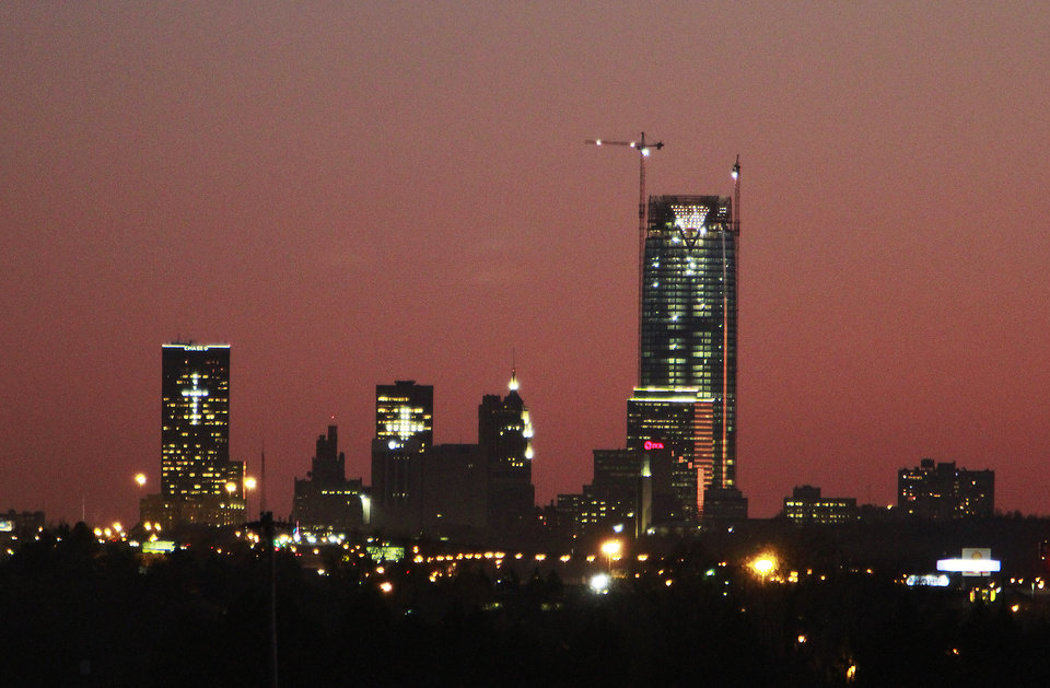 Downtown Oklahoma City at sunset, Monday, November 28, 2011.    Photo by David McDaniel, The Oklahoman