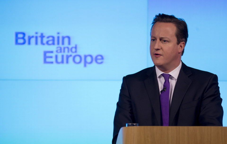 Photo - Britain's Prime Minister David Cameron makes a speech on having a referendum on staying in the European Union in London, Wednesday, Jan. 23, 2013.  Cameron said Wednesday he will offer British citizens a vote on whether to leave the European Union if his party wins the next election, a move which could trigger alarm among fellow member states.  He acknowledged that public disillusionment with the EU is