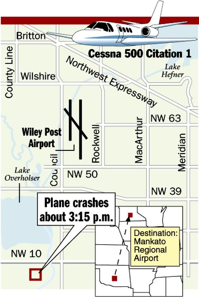 Photo - Plane crashes about 3:15 p.m. AIRPLANE ACCIDENT / DEATHS / MAP / GRAPHIC: Cessna 500 Citation 1, County Line, Britton, Wilshire, Lake Hefner, Northwest Expressway, Wiley Post Airport, Council, NW 50, Rockwell, MacArthur, NW 63, Meridian, Lake Overholser, NW 39, NW 10, Destination: Mankato Regional Airport
