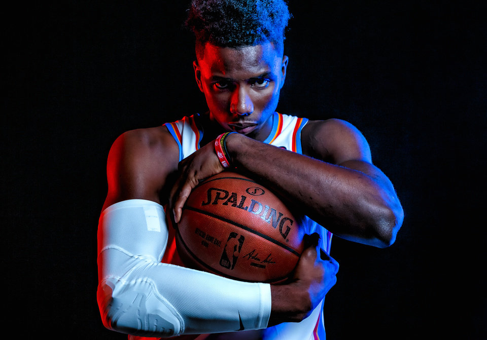 Photo - Hamidou Diallo (6) poses for a photo during the Oklahoma City Thunder media day at the Chesapeake Energy Arena in Oklahoma City, Okla. on Monday, Sept. 30, 2019.  [Chris Landsberger/The Oklahoman]