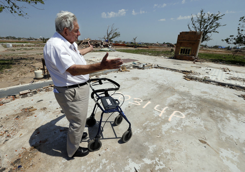 John Roady stands with his new walker, which he received from an organization replacing storm survivors' lost medical equipment. Roady and his wife Helen lost their home in Moore on May 20. <strong>STEVE SISNEY - THE OKLAHOMAN</strong>