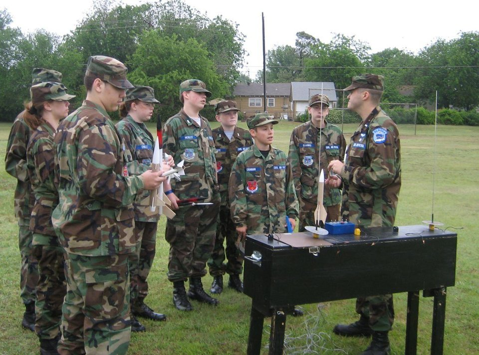 Cadets from the Flying Castle and Oklahoma City Composite Squadrons listen as 1st Lt Gerrit Dalman explains safety procedures for the launch.<br/><b>Community Photo By:</b> unknown<br/><b>Submitted By:</b> Jay,
