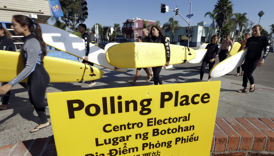 A surfing class passes a sign for a polling place as voters head to the polls Tuesday, Nov. 6, 2012, in San Diego. After a grinding presidential campaign President Barack Obama and Republican presidential candidate, former Massachusetts Gov. Mitt Romney, yield center stage to American voters Tuesday for an Election Day choice that will frame the contours of government and the nation for years to come. (AP Photo/Gregory Bull)