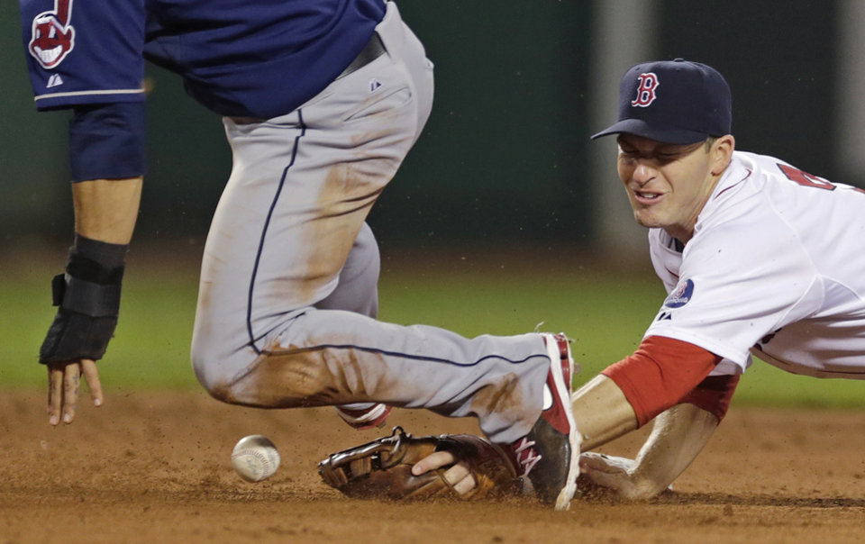 Photo - Boston Red Sox shortstop Stephen Drew loses control of the ball as Cleveland Indians' Mike Aviles, left, steals second base during the fifth inning of a baseball game at Fenway Park in Boston, Thursday, May 23, 2013. (AP Photo/Charles Krupa)