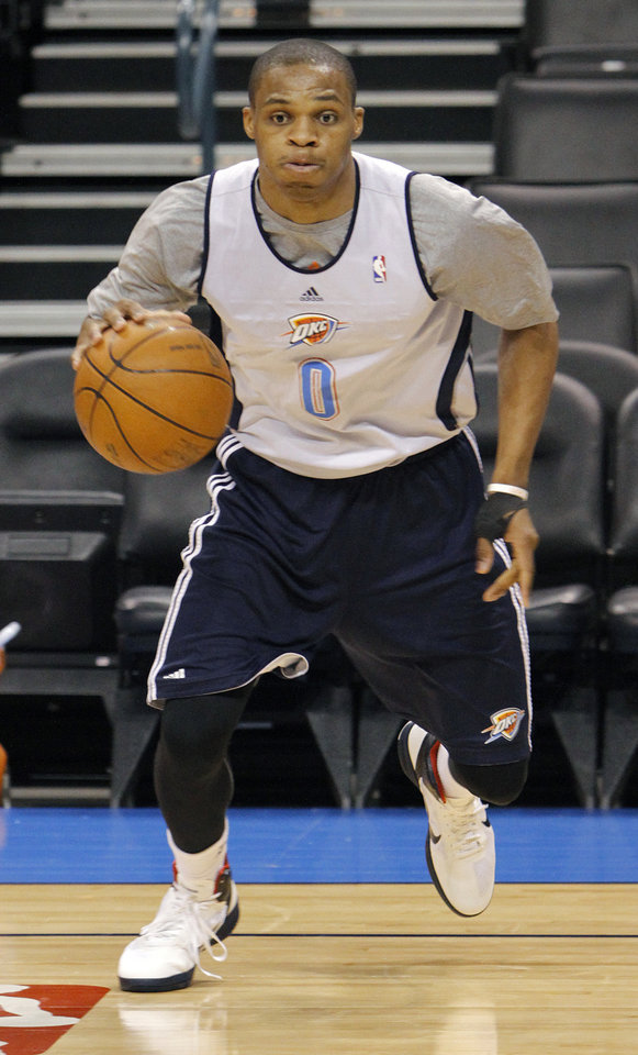 Oklahoma City\'s Russell Westbrook goes through drills during the NBA Finals practice day at the Chesapeake Energy Arena on Monday, June 11, 2012, in Oklahoma City, Okla. Photo by Chris Landsberger, The Oklahoman