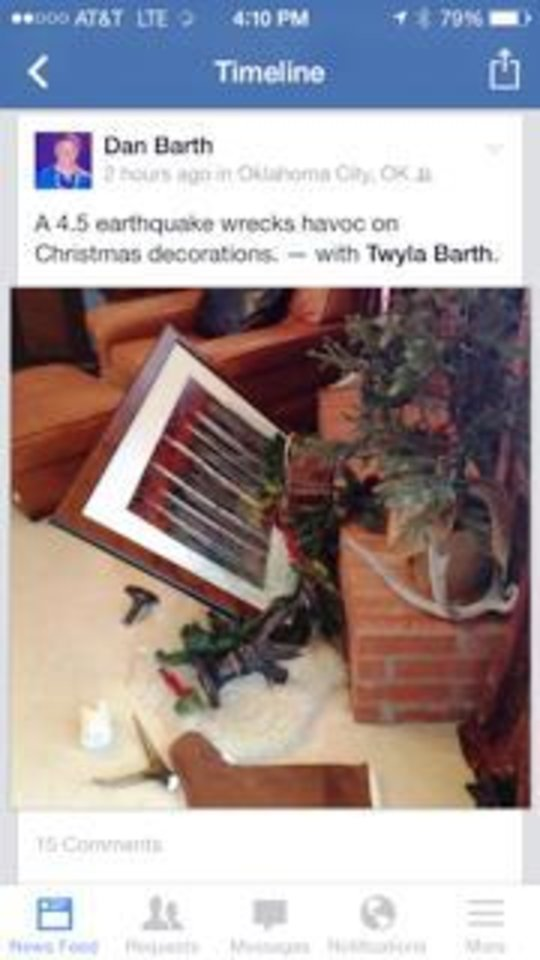 Photo - A Facebook posting by Dan Barth, of Oklahoma City, showing the effect Saturday's 4.5 magnitude earthquake had on Christmas presents in his home. Photo by Dan Barth, The Oklahoman.
