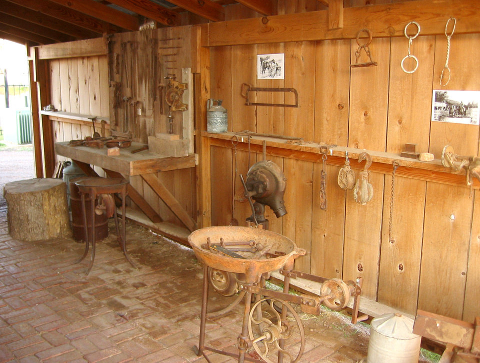Photo - An early-day blacksmith shop is represented at  the Pioneer Townsite in Frederick. PHOTO PROVIDED.