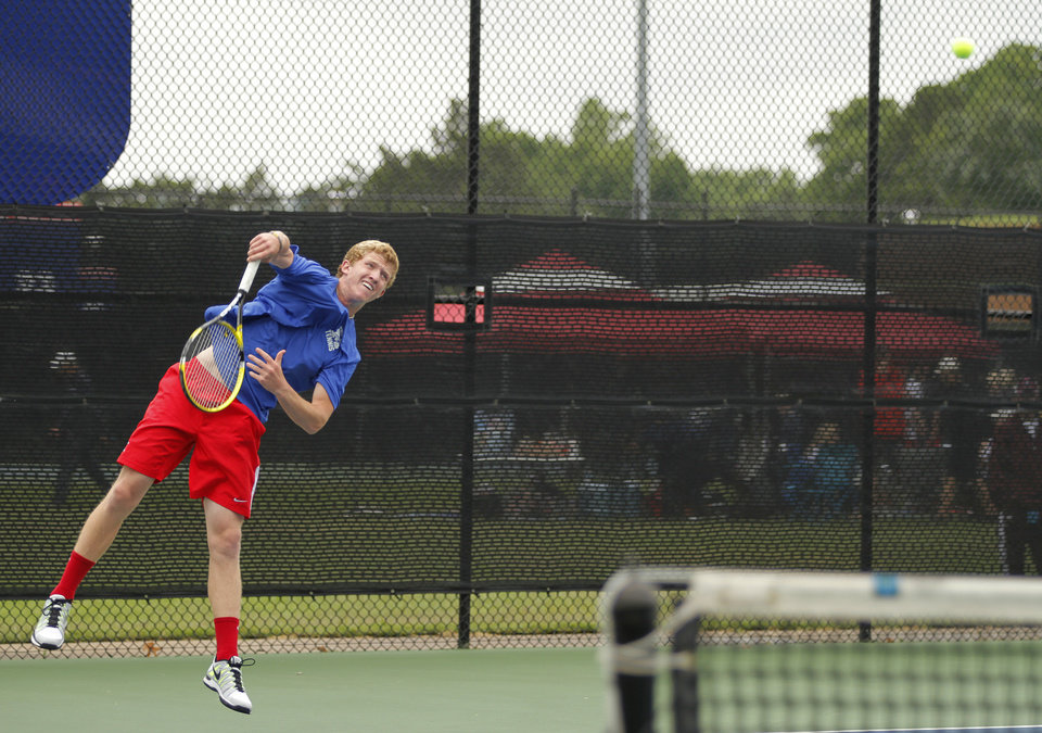 Photo - Mitchel Knight, of Metro Christian, competes in 5A Boys Singles during the 2012 OSSAA Boys High School State Tennis Tournament at the OKC Tennis Center at Will Rogers Park in Oklahoma City, Saturday, May 12, 2012.  Photo by Garett Fisbeck, For The Oklahoman