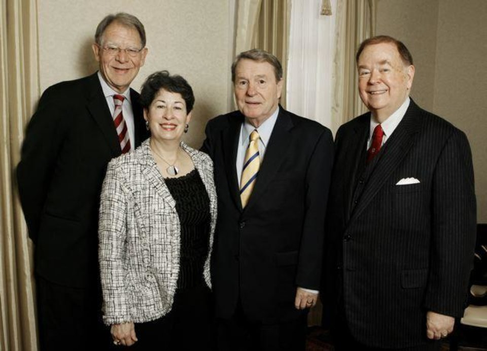 THE GAYLORD PRIZE....Joe Foote, dean, Gaylord College of Journalism  and Mass Communication, Molly Shi Boren, Jim Lehrer, and OU President  David Boren, attending a reception for the presentation to Lehrer of  the Gaylord Prize for Excellence in Journalism and Mass Communication   by the University of Oklahoma at the Skirvin Hilton Hotel in downtown Oklahoma City, Monday, Nov. 17, 2008. BY PAUL B. SOUTHERLAND, THE   OKLAHOMAN