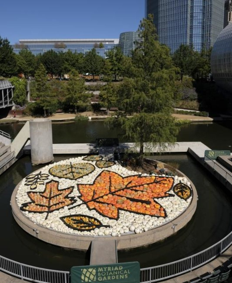 Photo -  Local artist Nick Bayer built this giant pumpkin mural on the Water Stage for the Myriad Botanical Gardens' Great Pumpkin Patch. [Doug Hoke/The Oklahoman]
