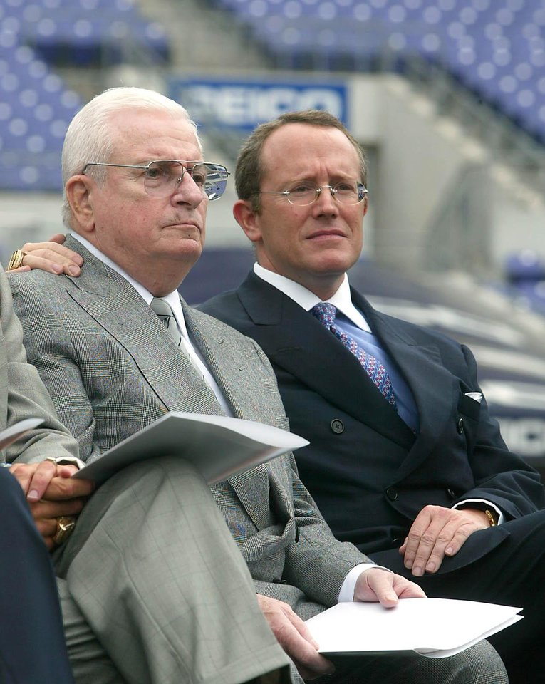 Photo -   FILE - This May 6, 2003 file photo shows Baltimore Ravens owner Art Modell, left, and team President David Modell, sitting together at a news conference at the newly named M&T Bank Stadium in Baltimore, Md. One of the most influential owners in the history of the NFL, Art Modell helped mold the foundation of the league. The innovative Modell, whose reputation was forever tainted when he moved his franchise from Cleveland to Baltimore, died early Thursday, Sept. 6, 2012. He was 87. David Modell said he and his brother, John, were at their father's side when he