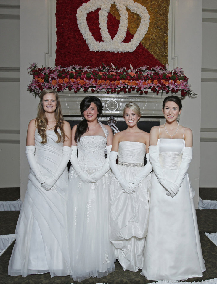 Debutantes, from left, Eliza Ingraham Delaney, Colbie Claiborne Magness, Anna Grace Givens and Mary Anne Morgan at Oklahoma City Golf and Country Club Saturday, Nov. 28, 2009. Photo by Doug Hoke, The Oklahoman