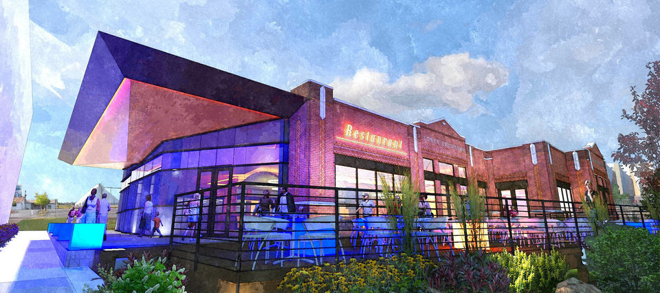 The main entrance, patio and canal entryway to the future Kevin Durant restaurant in Lower Bricktown is shown in this rendering.
