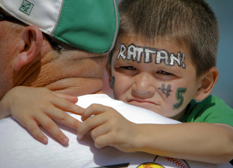Photo - Rattan High School softball fan Westin Rodenburger, 4, has his face painted to support the lady Rams during the state championship softball tournament at ASA Hall of Fame Stadium on Wednesday, May 2, 2012, in Oklahoma City, Oklahoma. Photo by Chris Landsberger, The Oklahoman