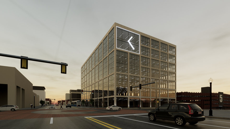 Photo -  Designs for a proposed headquarters, shown here looking northeast from NW 5 and Broadway, include neon accents shaped like an arrow on the building's south facade.
