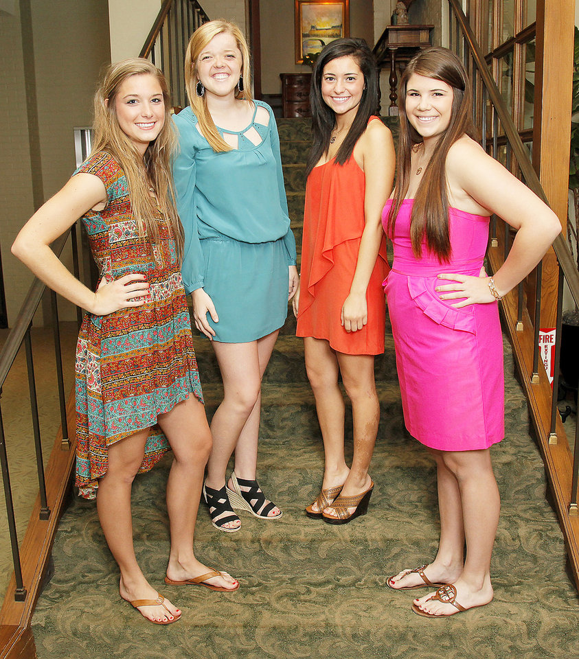 From left, Beaux Arts Debutantes Bobbe Chaffin, Alley Cottrell, Rosemary Joseph and Sara Roush pose for a photo at Oklahoma City Golf and Country Club in Nichols Hills, Okla., Wednesday, May 23, 2012. Photo by Nate Billings, The Oklahoman