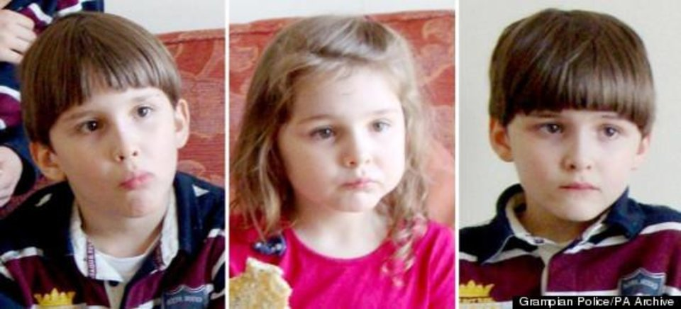Photo - BEST QUALITY AVAILABLE. Undated composite of a Grampian Police handout photo of (left to right) Austin, 8, Cecilia, 5, and Luke Riggi, 8, as their mother Theresa Riggi, who stabbed her three young children to death amid a bitter custody battle with her estranged husband will be sentenced today.