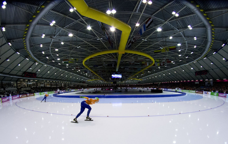 Photo - FILE - In this Jan. 13, 2013, file photo, Ireen Wust, center, and Antoinette de Jong , left, of the Netherlands, compete during the women's 1500 meters race at the allround European speedskating championships at Thialf Stadium in Heerenveen, northern Netherlands.  Time and again over the last half century, the Dutch are top or near the top of the speedskating standings at any Olympic and for a nation of 16.8 million, it often defies giants like the United States, Russia or Germany. This time too, the Dutch have a realistic chance for a half dozen gold medals on the big oval. (AP Photo/Peter Dejong, File)