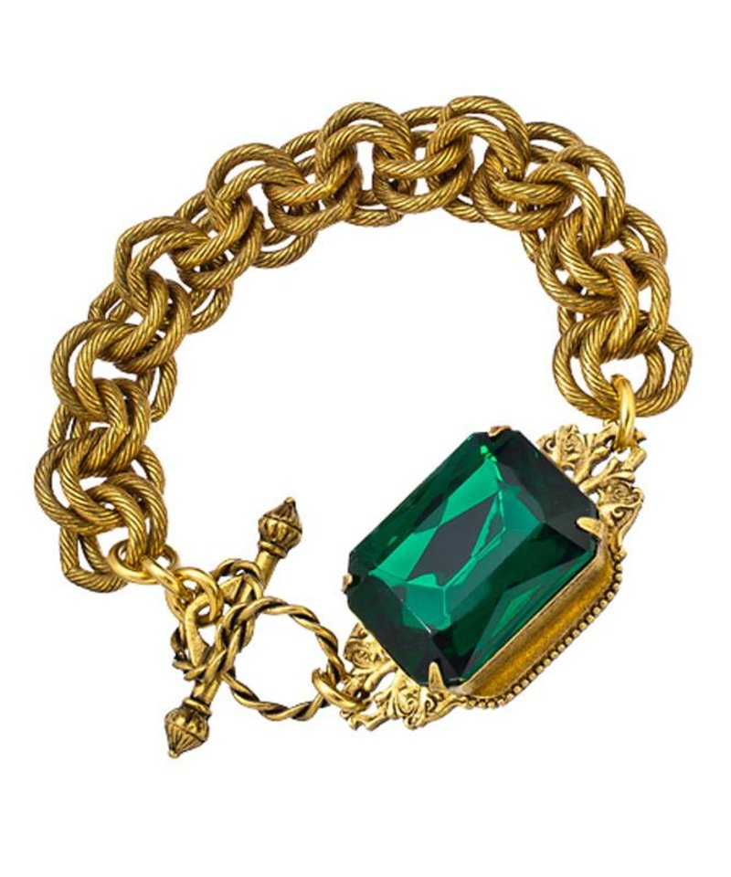 Photo - After color authority Pantone named emerald the official color of 2013, the green tone began popping up on runways and in stores everywhere. Here, John Wind Maximal art emerald heirloom bracelet, $73, MaxandChloe.com. (Courtesy MaxandChloe.com via Los Angeles Times/MCT)