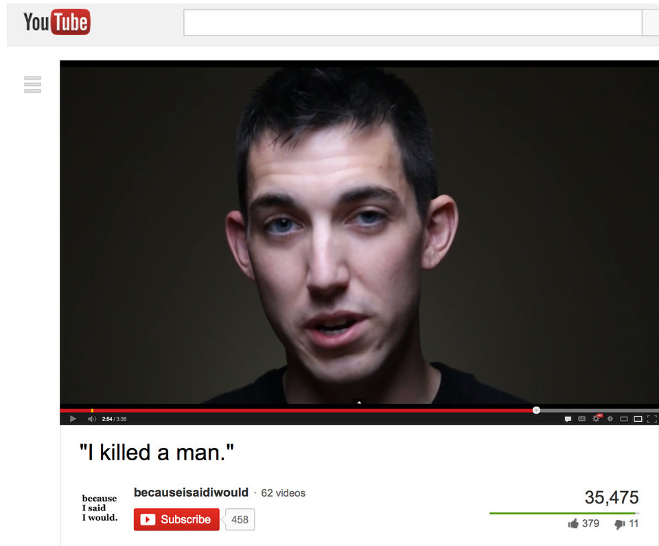 This video frame grab provided by Alex Sheen of becauseisaidiwould.com shows Matthew Cordle. Cordle, a driver has confessed in a video posted online that he\'s to blame for a wrong-way car crash stemming from a night of heavy drinking that killed another man and says he\'s willing to take