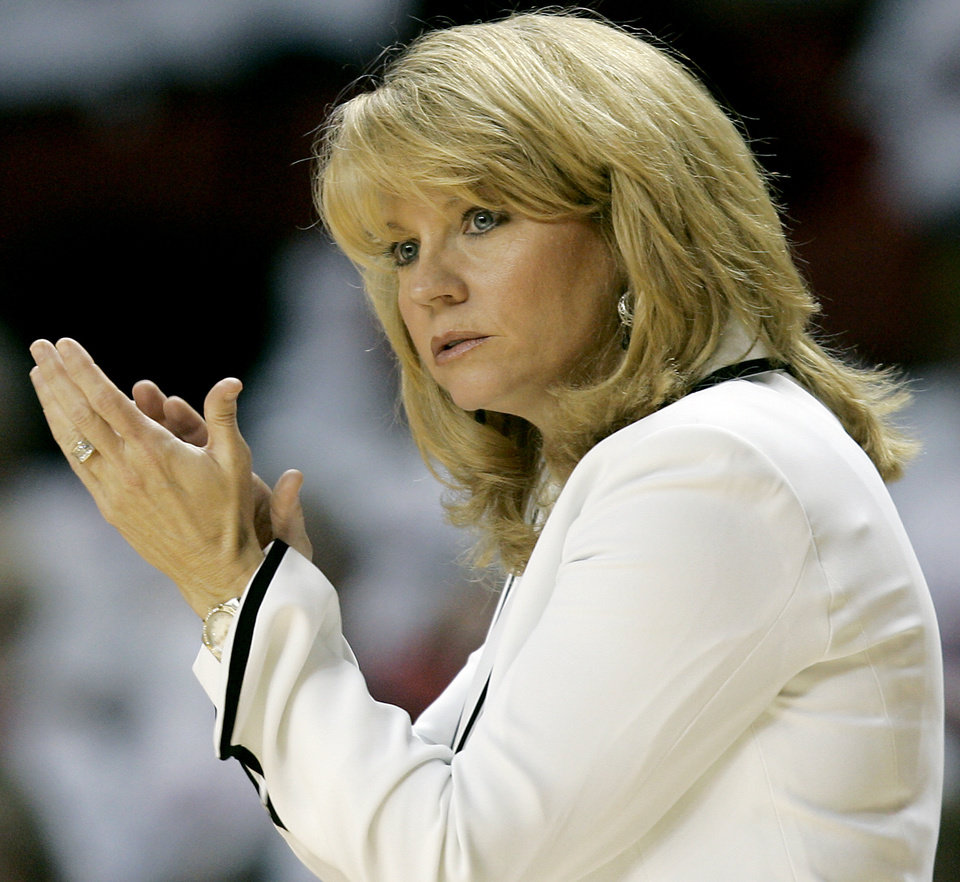 Oklahoma head coach Sherri Coale coaches the Sooners against Texas A&M during the second half of their women's college basketball game at Lloyd Noble Center in Norman on Sunday, Jan. 17, 2010. Oklahoma beat Texas A&M. The Sooners beat the Aggies 74-65.  Photo by John Clanton, The Oklahoman