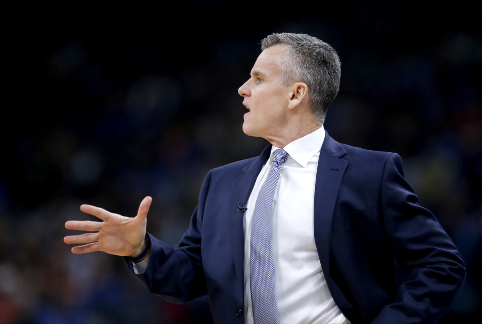Photo - Oklahoma City head coach Billy Donovan coaches during the NBA basketball game between the Oklahoma City Thunder and the Houston Rockets at the Chesapeake Energy Arena in Oklahoma City,  Thursday, Jan. 9, 2020.  [Sarah Phipps/The Oklahoman]