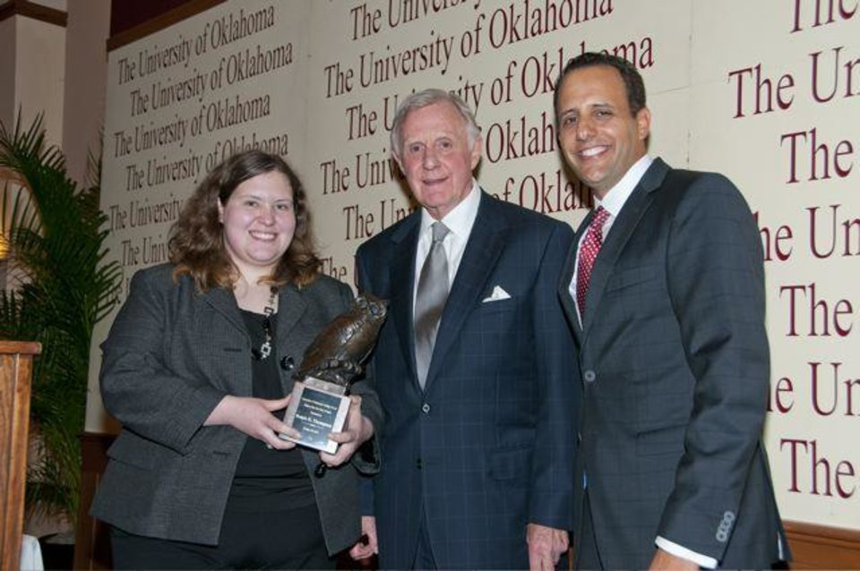 Lindsey Campbell, Judge Ralph Thompson, OU Law Dean Joseph Harroz, Jr. were at the University of Oklahoma College of Law�s Order of the Owl Dinner and Hall of Fame Induction at the Molly Shi Boren Ballroom of the Oklahoma Memorial Union. Four honorees were selected for the Order of the Owl, a group that honors Law school graduates who have been outstanding stewards of the legal system. Initiated by OU College of Law Dean Joseph Harroz Jr., the Order of the Owl pays tribute to individuals who demonstrate leadership and service through outstanding accomplishments in their legal careers. 400 people attended the event. Inductees: Inducted this year were Judge Michael Burrage, Kathy Taylor, Judge Ralph Thompson and Judge Lee West. (Photo provided).