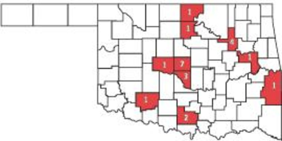 Photo - OKLAHOMA STATE MAP / GRAPHIC: SWINE FLU DEATHS BY COUNTY