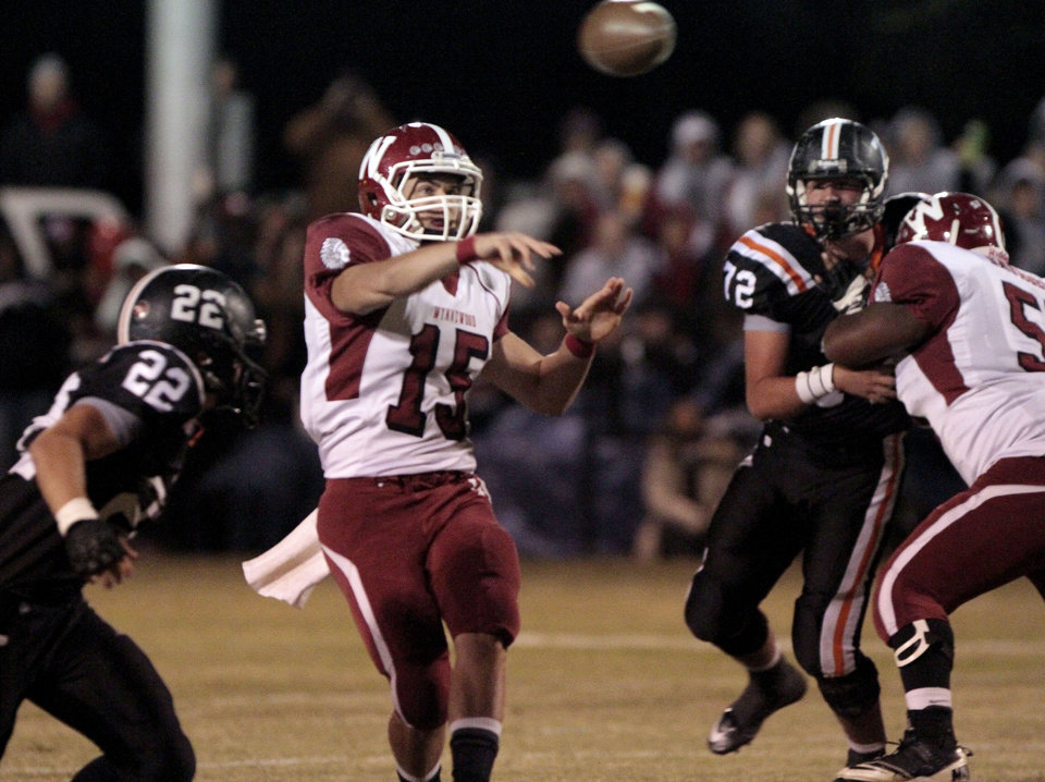 Wynnewood quarterback Jace Brown (15) throws against Wayne in high school Football on Friday, Oct. 26, 2012 in Wayne, Okla.  Photo by Steve Sisney, The Oklahoman