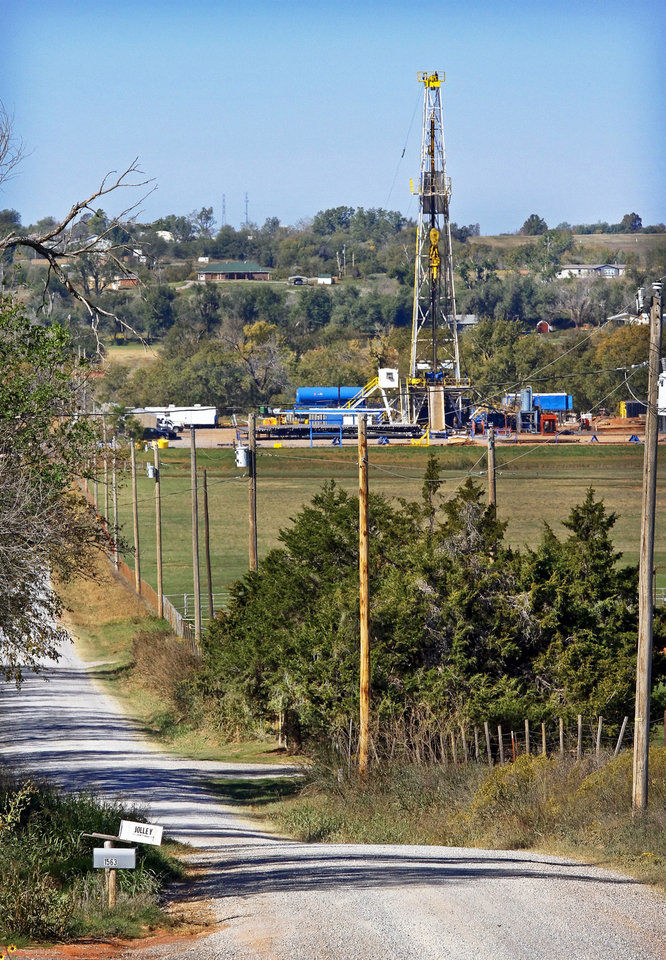 Photo - Continental Resources rig site in Chickasha is shown.  Photos by Chris Landsberger, The Oklahoman