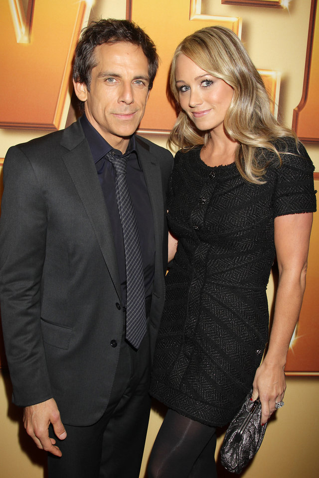 Photo - In this Oct. 24, 2011 photo, actors Ben Stiller, left, and his wife Christine Taylor pose at the world premiere of the film