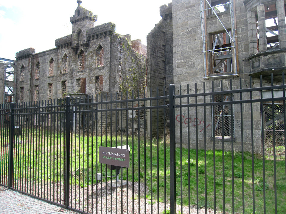 Photo - This May 1, 2014 photo shows the Renwick Ruin at Franklin D. Roosevelt Four Freedoms Park, located on Roosevelt Island in New York. The building is a former smallpox hospital that opened in 1856 and was abandoned in the 1950s. Visitors pass the ruin as they head to Four Freedoms Park, which offers scenic views of the city and was designed by renowned architect Louis I. Kahn. (AP Photo/Beth J. Harpaz)