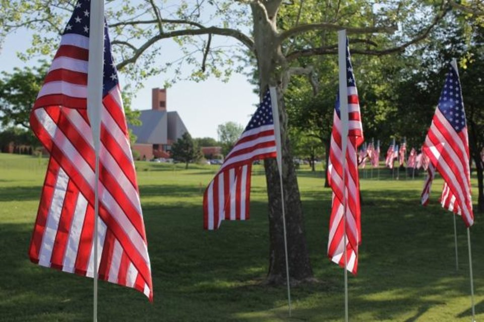 Photo -  Visitors to the Oklahoma Christian University campus, 2501 E Memorial Road, can walk through a field of flags that will be erected just after sunrise Wednesday in honor of victims of the Sept. 11, 2001, tragedy. [PHOTO PROVIDED]