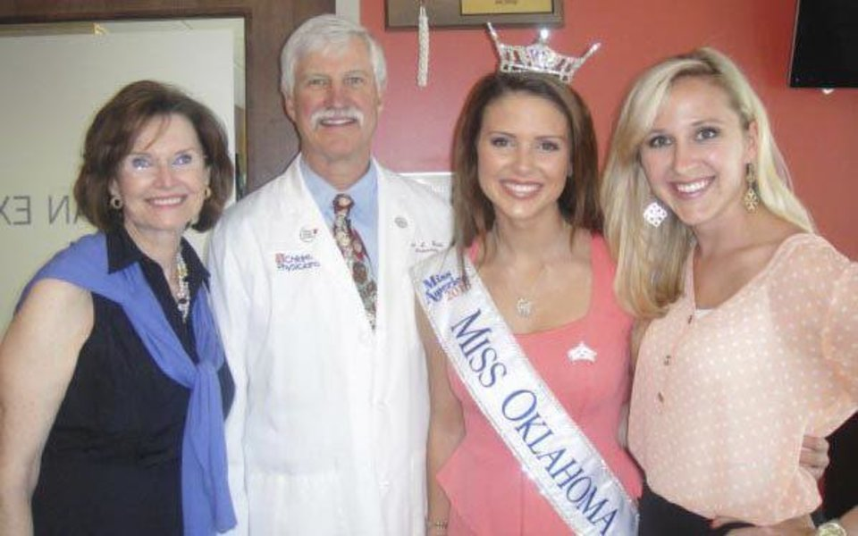 Photo - Jane Jayroe, Miss American 1967; Dr. Terrence Stull, CMRI Patricia Price Browne Distinguished Chair and Chairman for the Department of Pediatrics; Kelsey Griswold, Miss Oklahoma 2013; and Taylor Treat-Burget, Miss Oklahoma 2009. Photo provided