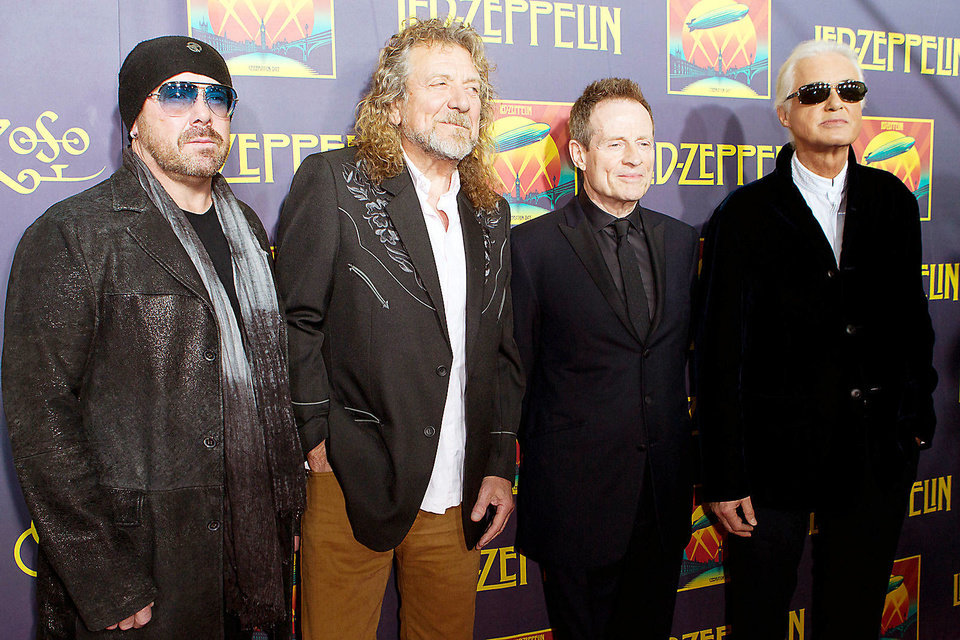 "Musicians Jason Bonham, Robert Plant, Jimmy Page and John Paul Jones attend the ""Led Zeppelin: Celebration Day"" premiere at the Ziegfeld Theater on Oct. 9 in New York. AP PHOTO"