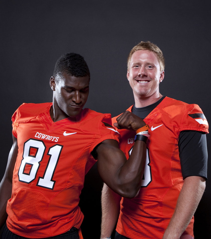 Oklahoma State's Brandon Weeden (3) and Justin Blackmon (81) pose a photo during Oklahoma State's Football media day in Stillwater, Okla., Saturday, Aug. 6, 2011. Photo by Sarah Phipps, The Oklahoman