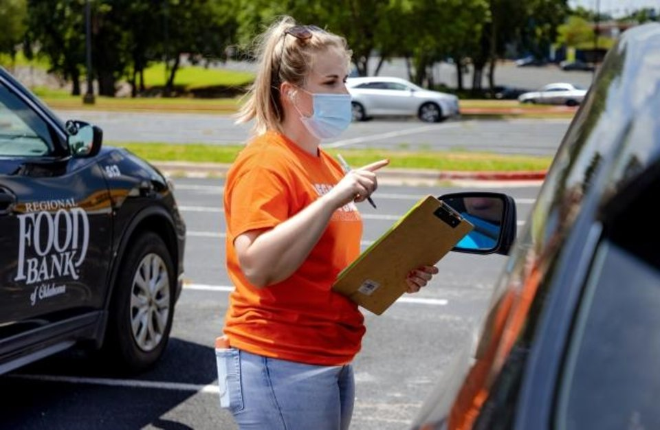Photo -  Natalie Wood checks in clients to have a food box loaded in their car during the Regional Food Bank of Oklahoma food distribution event for individuals seeking unemployment assistance on Wednesday in Midwest City.  [Chris Landsberger/The Oklahoman]