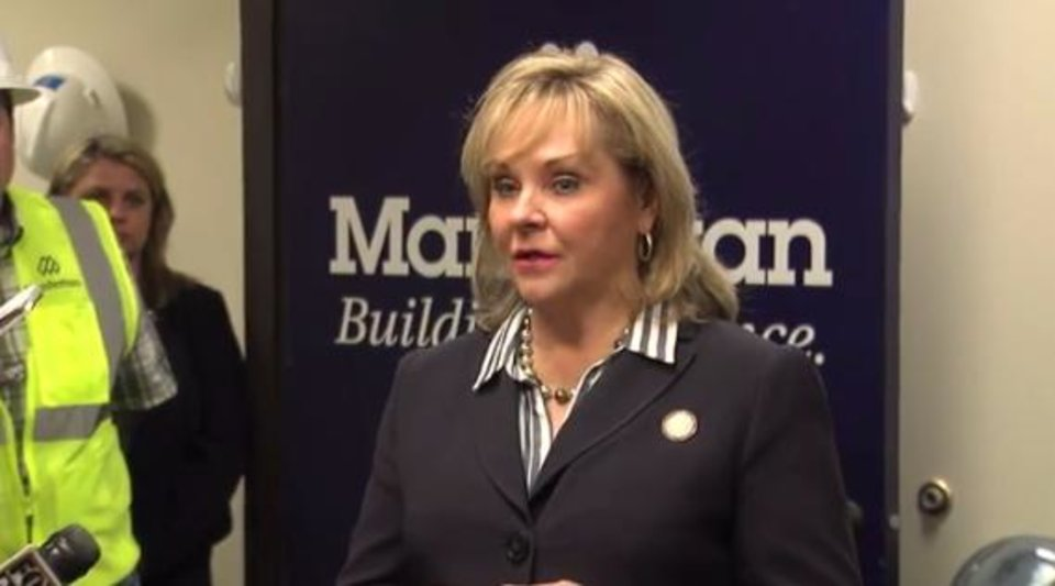Photo - Gov. Mary Fallin talks about meeting with President-elect Donald Trump.