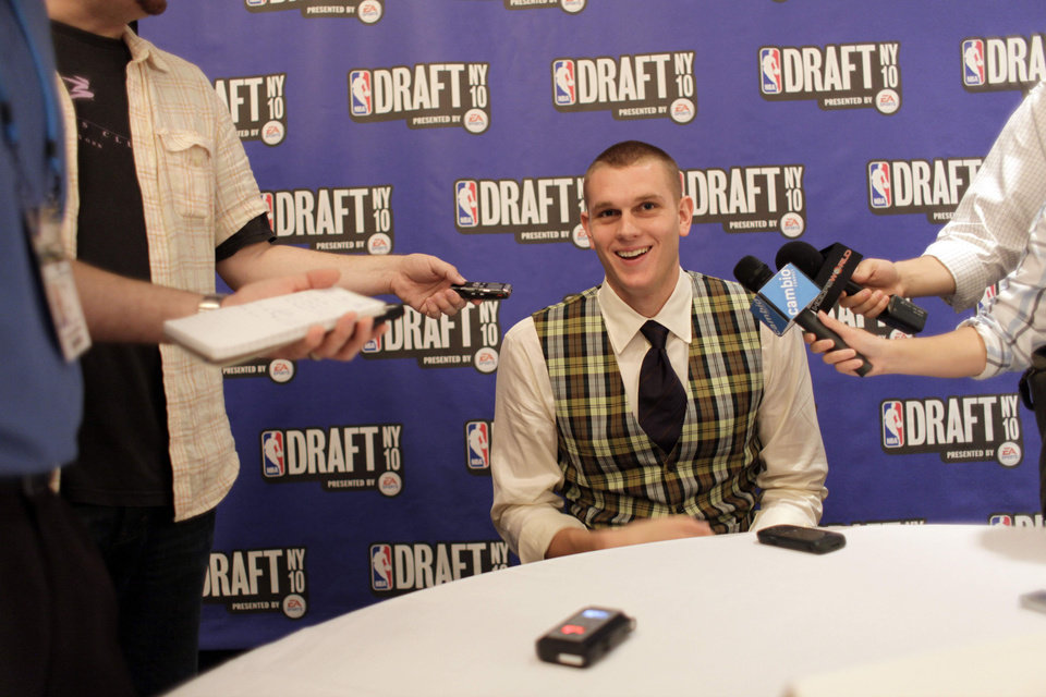 Photo - Cole Aldrich speaks to reporters during the 2010 NBA Draft participants media availability, Wednesday, June 23, 2010,  in New York.  (AP Photo/Mary Altaffer) ORG XMIT: NYMA107