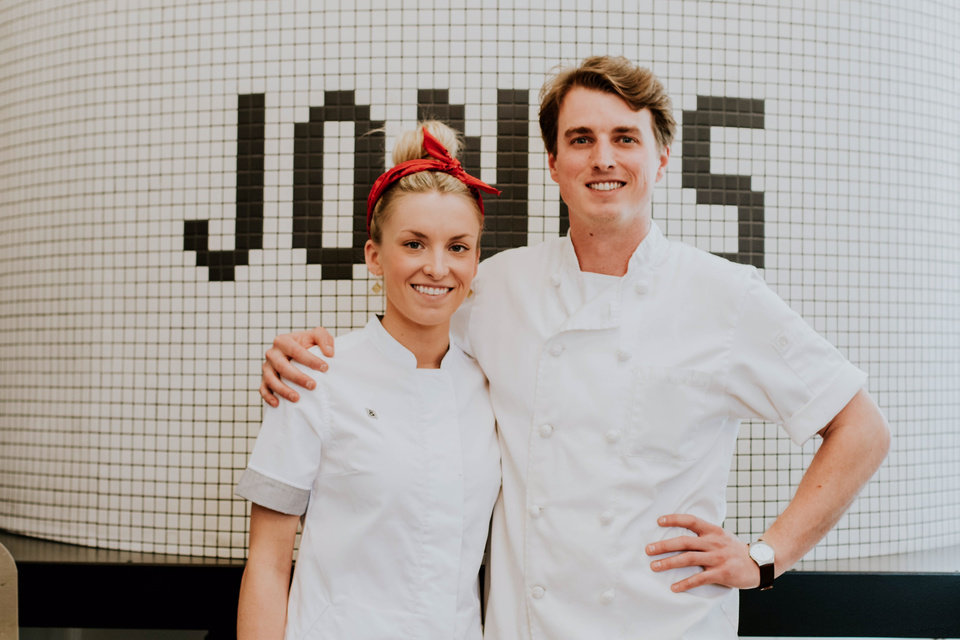 Photo -  Pictured are Chef Brittany Sanger and The Jones Assembly manager Andrew Eskridge. Sanger, an Oklahoma City-born chef who trained at Le Cordon Bleu in Paris, said that working on The Jones Assembly is a rare opportunity. [Photo provided by Madison Denton]