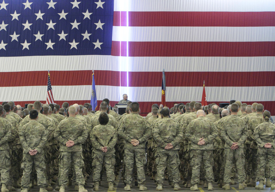 About 250 members of the The Oklahoma National Guard, 45th Infantry Brigade Combat Team (IBCT) returned from Afghanistan and Kuwait on Wednesday, March 28, 2012. Photo By David McDaniel/The Oklahoman