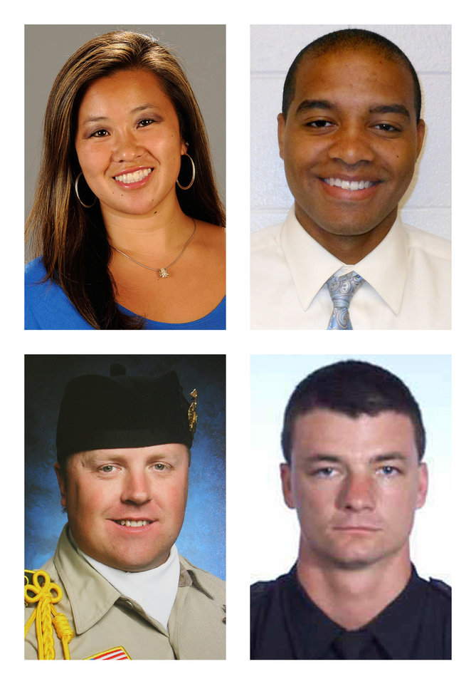 This combination of photos shows, from top row left, NCCA college basketball coach Monica Quan, USC Department of Public Safety Officer Keith Lawrence, San Bernardino Sheriff's Deputy Jeremiah MacKay and Riverside Police Department Officer Michael Crain, bottom row right, who were killed by rampage suspect, former Los Angeles Police Department officer Christopher Dorner. (AP Photo/Cal State Fullerton, USC Department of Public Safety, San Bernadino Sheriff's Department via The Press-Enterprise, Riverside Police Department)