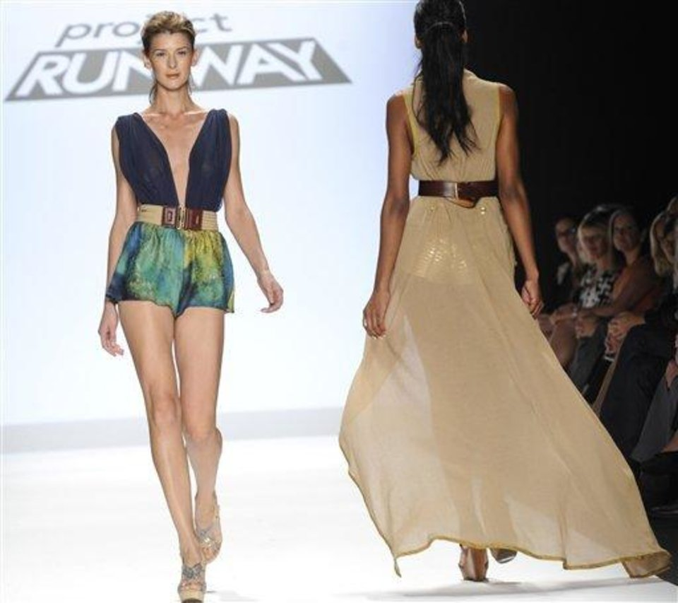 Photo - The Project Runway designs of Anya Ayoung Chee are shown Friday, Sept. 9, 2011, during Fashion Week in New York.  (AP Photo/ Louis Lanzano)