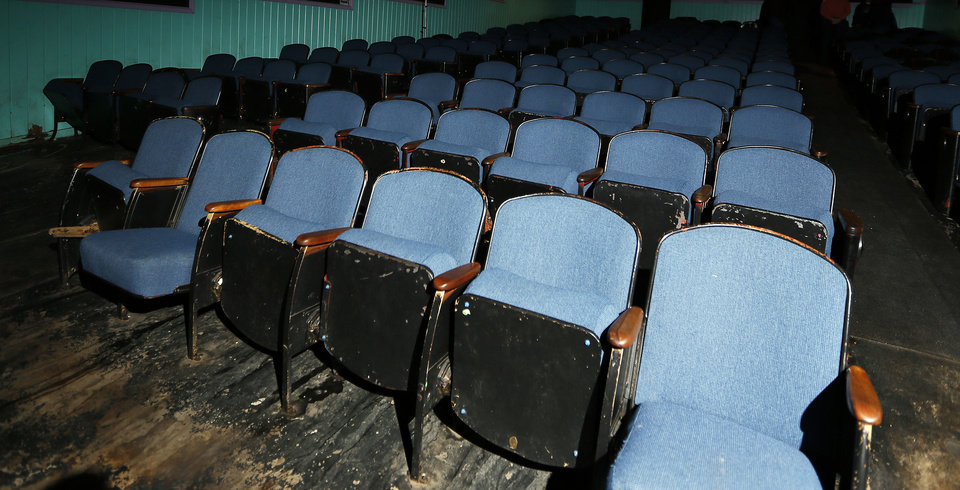 Inside the Time Theatre's only auditorium, the seats and floor are well worn. The community of Stigler is raising $100,000 to convert the theater to digital and keep it open. <strong>NATE BILLINGS - THE OKLAHOMAN</strong>