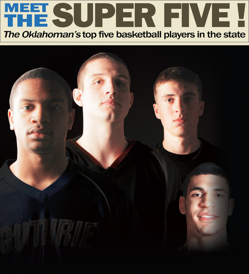 Photo - ALBUM COVER / MEET THE SUPER FIVE! The Oklahoman's top five basketball players in the state GRAPHIC WITH PHOTOS: 1) All-State high school basketball players, from left, Donte Foster, of Guthrie, Matt Qualls, of Tahlequah, and Lane Adams, of Red Oak, pose for a photo recreating the cover of