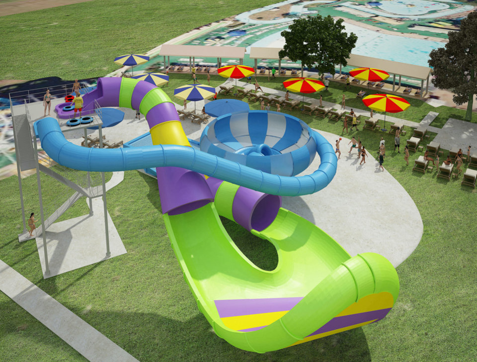 White Water Bay plans to open two new slides this year: the Cannon Bowl and Pipeline Wave. Shown is an artist�s drawing. DRAWING PROVIDED BY WHITE WATER BAY