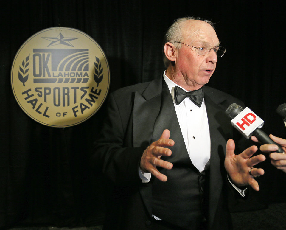 Photo - Pat Jones, 2012 inductee to the Oklahoma Sports Hall of Fame, speaks to the media at a gathering at the Oklahoma Sports Hall of Fame before the induction ceremony in Oklahoma City, Monday, Aug. 6, 2012. Photo by Nate Billings, The Oklahoman
