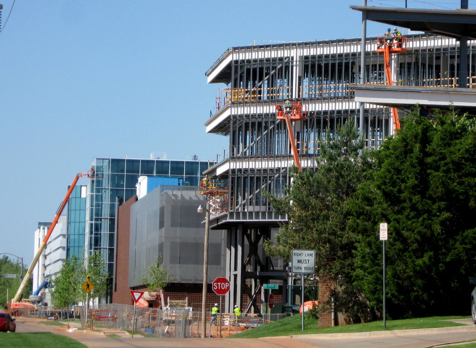 Construction continues on the Chesapeake Energy campus at NW 63 and Western.  Photos by Steve Lackmeyer, The Oklahoman