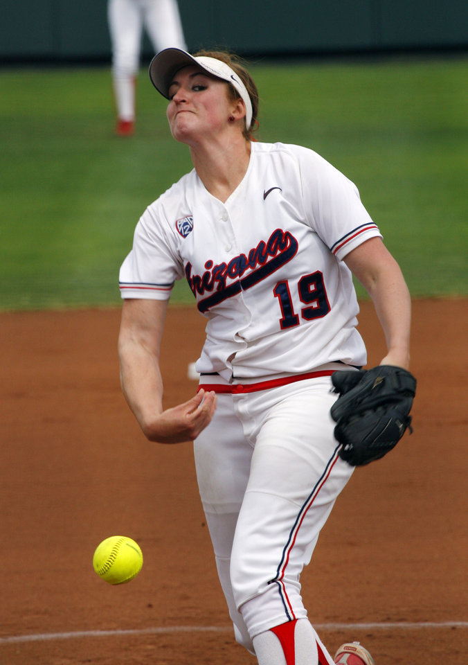 Arizona pitcher Kenzie Fowler throws in the first inning as the University of Oklahoma Sooner Softball team plays Arizona in game two of the NCAA Softball Norman Super Regional at Marita Hines field on Saturday, May 26, 2012, in Norman, Okla.  Photo by Steve Sisney, The Oklahoman