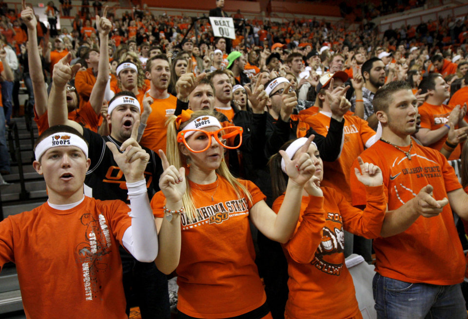 Photo - OSU fans cheer before the Bedlam men's college basketball game between the University of Oklahoma Sooners and Oklahoma State University Cowboys at Gallagher-Iba Arena in Stillwater, Okla., Saturday, February, 5, 2011. Photo by Bryan Terry, The Oklahoman